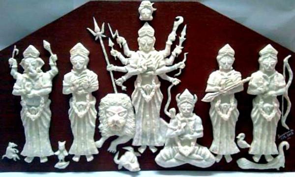 Durga family prepared by soap at agartala. Photo/Abhishek debbarma.