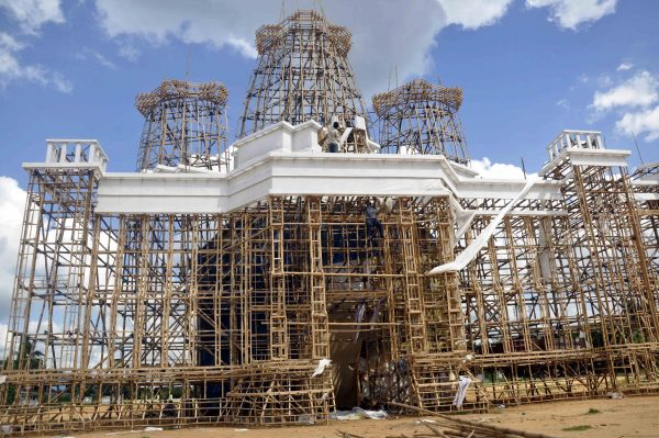 Netaji Play Centre of Agartala preparing a huge pandal for