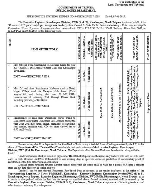 C 648 PRESS NOTICE INVITING TENDER NO 06 EE KCP 2017 2018 Dated 07